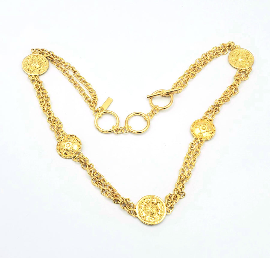 18k Gold Plated Double Strand Toggle Necklace (MM001)