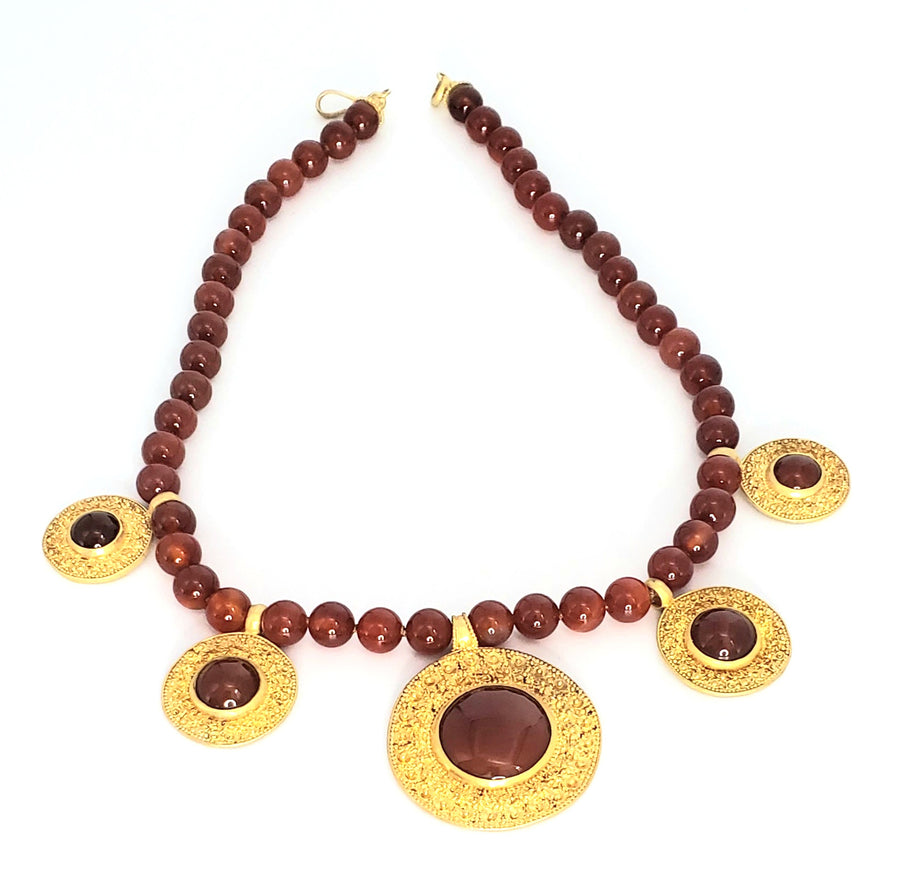 18k Gold Plated Carnelian Necklace (ETR021)