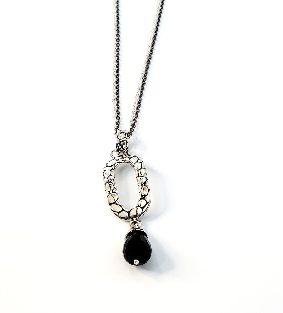 Sterling Silver Black Obsidian Necklace Pendant (7362)