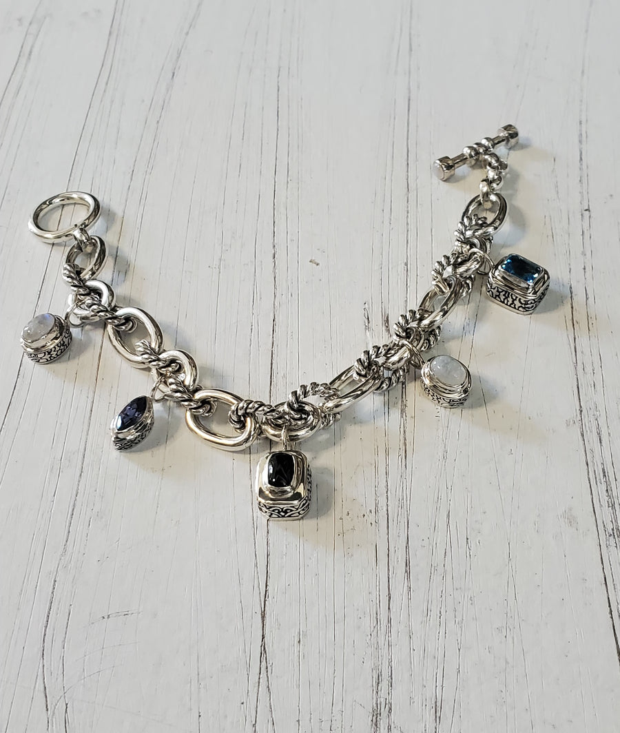 Sterling Silver Mix Gemstone Charm Bracelet (5013MIX)
