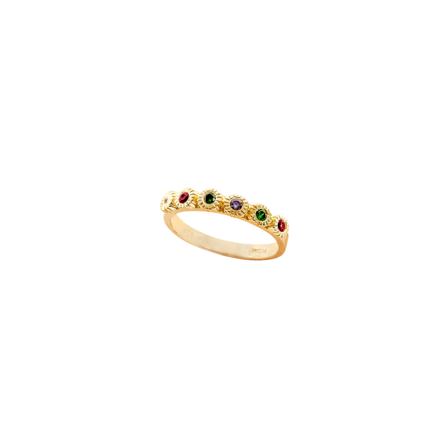 Gold Plate w/Mixed CZ Ring (214418)