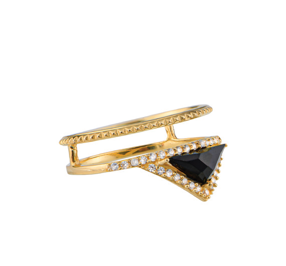 Gold Plate w/Black Onyx and CZ Ring (215959)