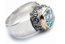 Sterling Silver w/18k Gold 8mm Blue Topaz Ring (241BT)