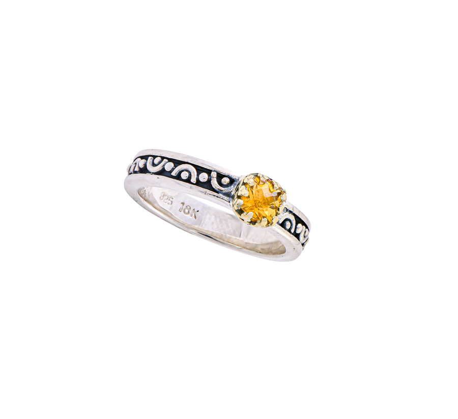 Sterling Silver w/18k Gold Stack Ring (265AGC)