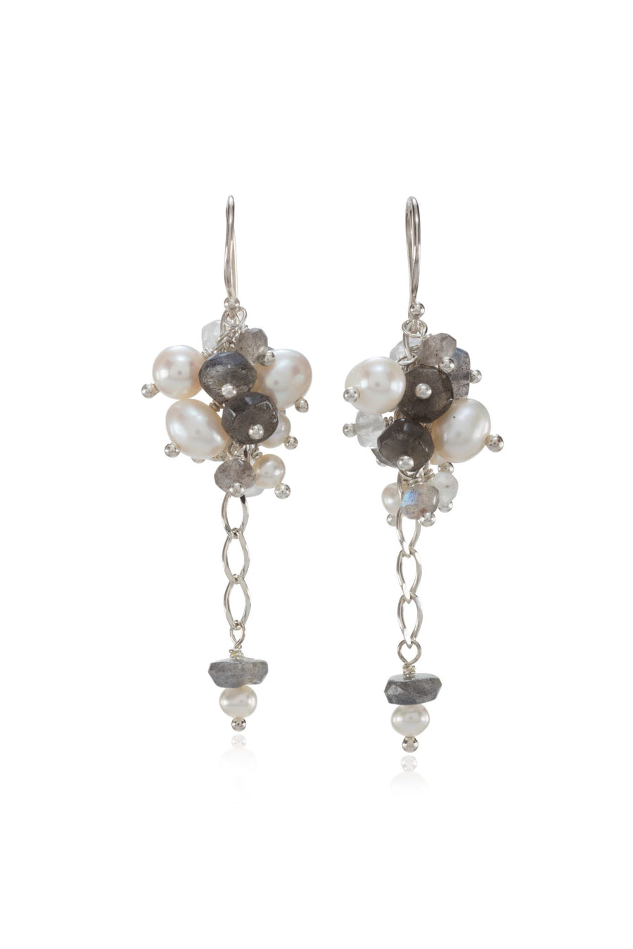 Sterling Silver Labradorite Cluster Mix Earrings (3176-LAB)