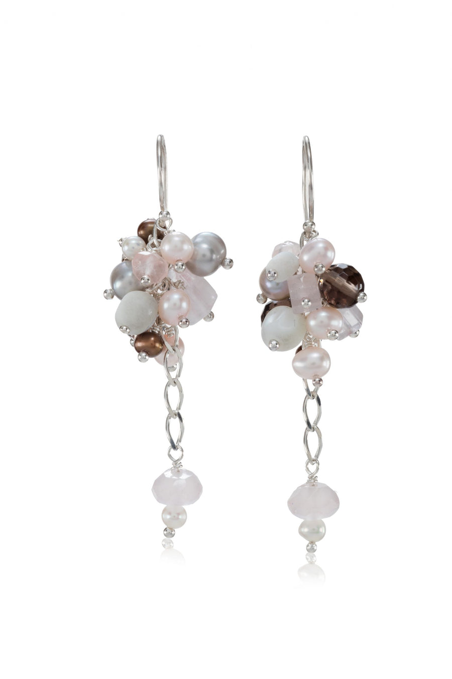 Sterling Silver Pink Cluster Mix Earrings (3176-PMOP)