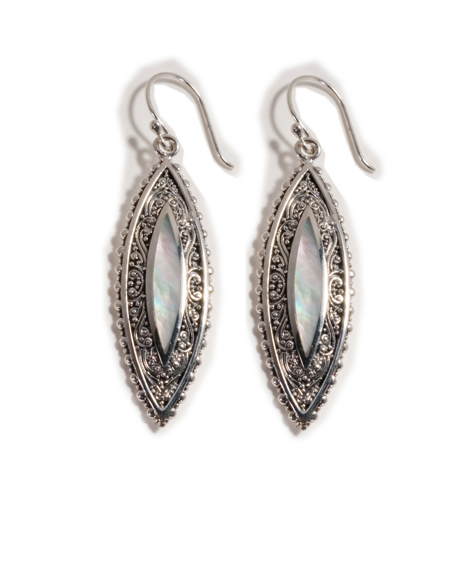 Sterling Silver White Mother of Pearl Keong Earrings (3496WMOP)