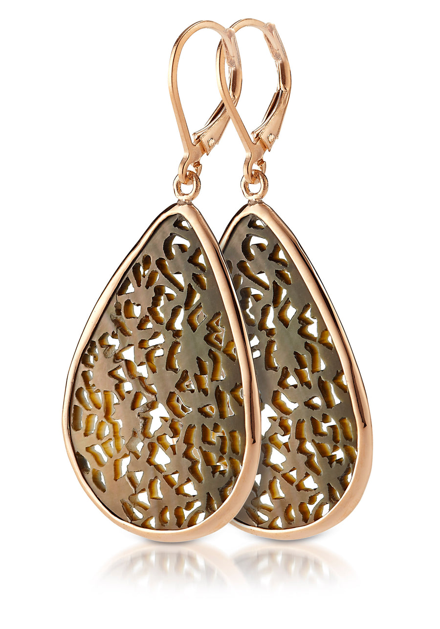 5k Gold Black Mother of Pearl Earrings (3638-5K-BMOP)