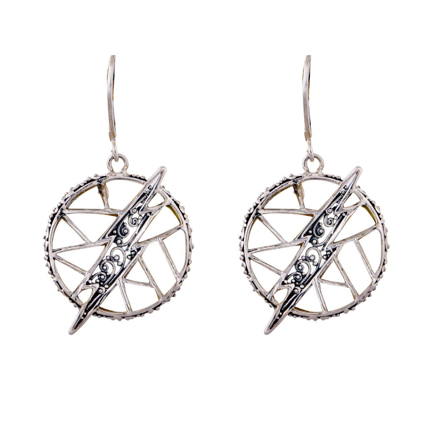 Sterling Silver Lightning Bolt Earrings (3772WMOP)