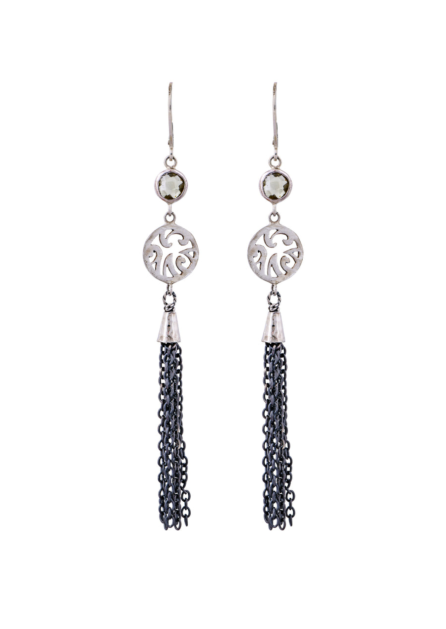 Oxidized Sterling Silver Round Tassel Earrings (3803SS/GMTL-LC)