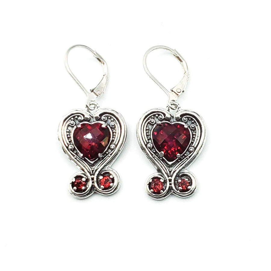 Sterling Silver Heart Ruby Quartz Earrings (3847 RUBY QTZ)