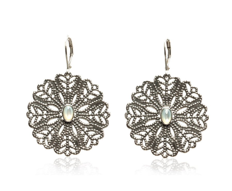 Oxidized Sterling Silver Golden Flower Open Window Earrings (3865WMOP)