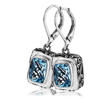 Sterling Silver Blue Topaz Earrings (388XBT)