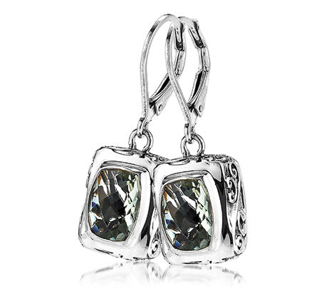 Sterling Silver Green Amethyst Topaz Earrings (388XGRAM)