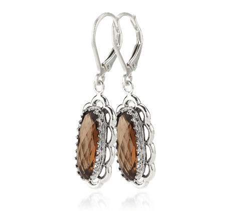 Sterling Silver Smoky Quartz Oval Earrings (3910ST)