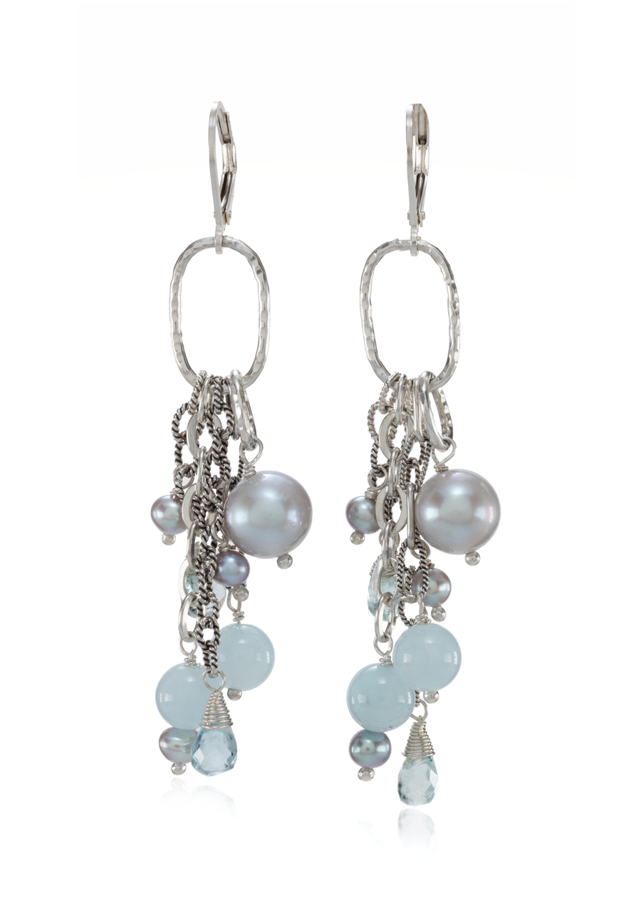 Sterling Silver Mixed Beads and Pearls Dangle Earrings (3917BLU)