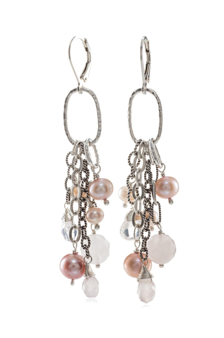 Sterling Silver Mixed Beads and Pearls Dangle Earrings (3917RQ)