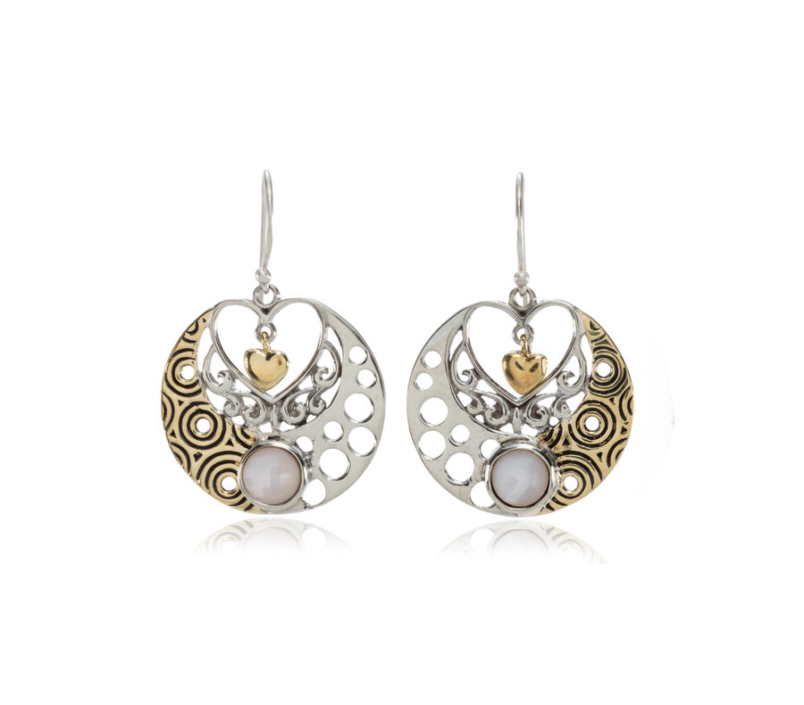 Sterling Silver w/Bronze Heart PMOP Earrings (3921PMOP)