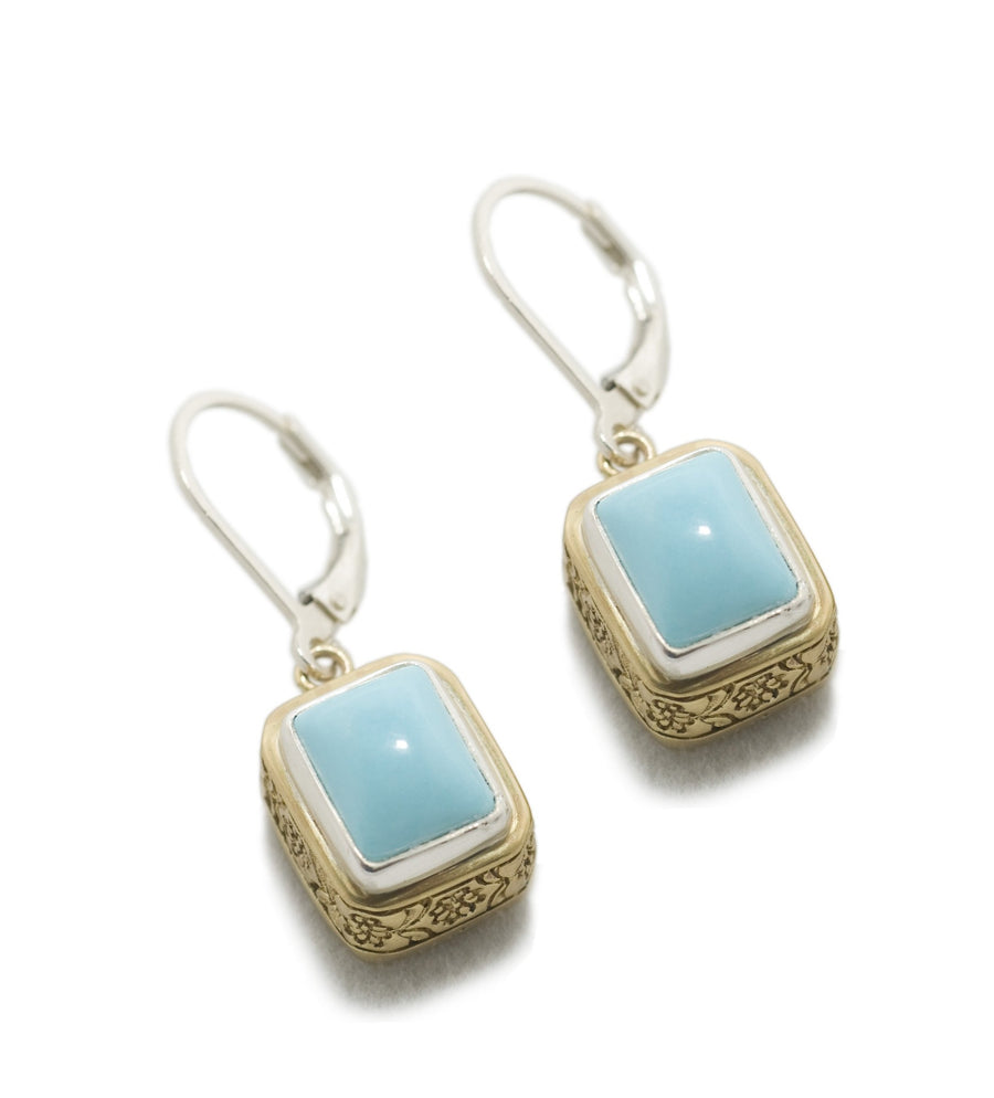 Sterling Silver w/Bronze Turquoise Earrings (399SS/BZ-TQ)