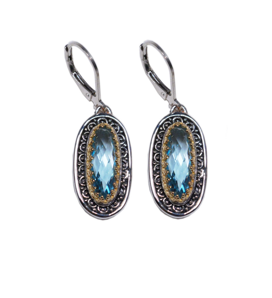 Sterling Silver & 18k Gold Oval Leverback Earrings (4025BT)