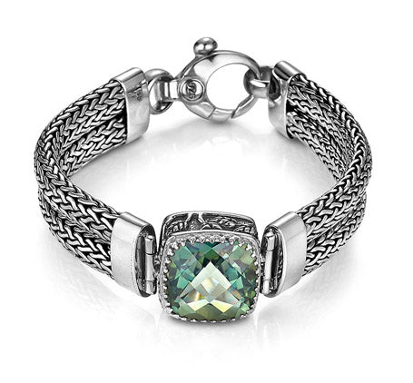 Sterling Silver Green Quartz Weave Bracelet (5356GT)