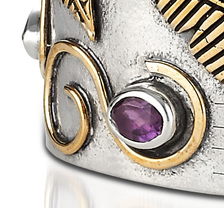 Sterling Silver w/Bronze And Semi-Precious Gemstones Cuff Bracelet (5493)