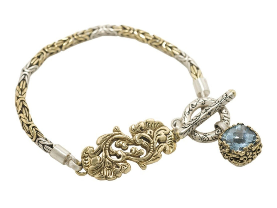 Sterling Silver w/Bronze Golden Flower Bracelet (5500SS/BZ-BQ)