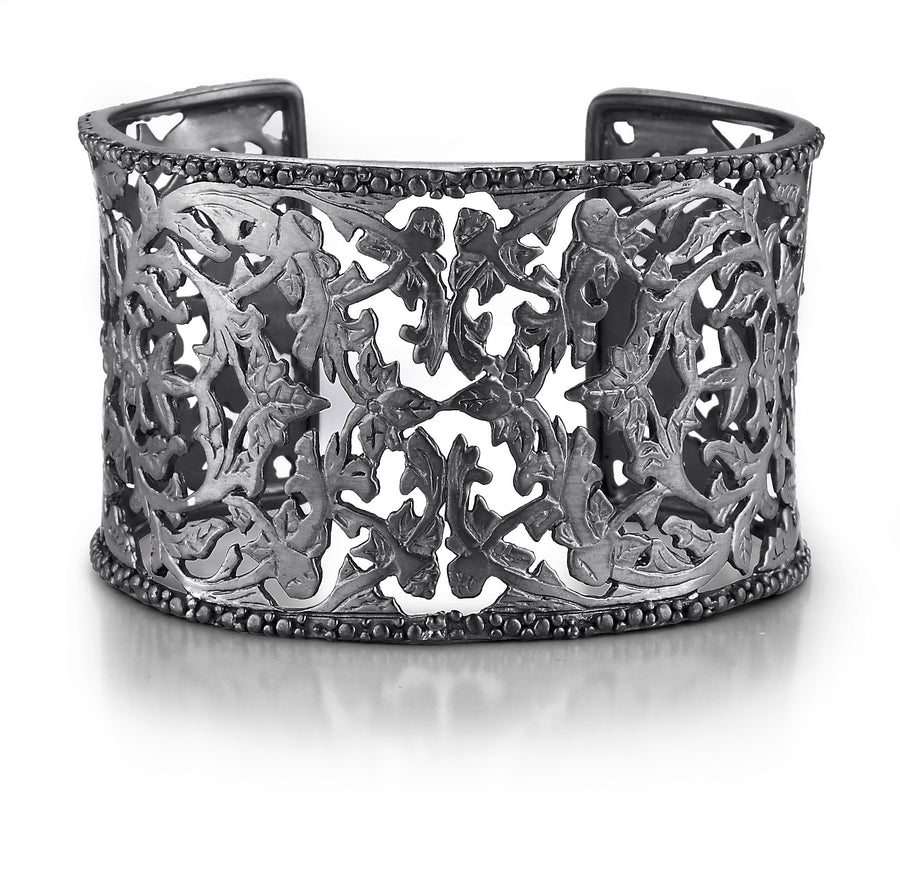 Oxidized Sterling Silver Golden Flower Cuff Bracelet (5722GMTL)