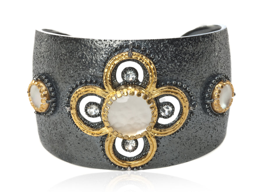 Oxidized Sterling Silver and 18k Vermeil Haute Statement Cuff