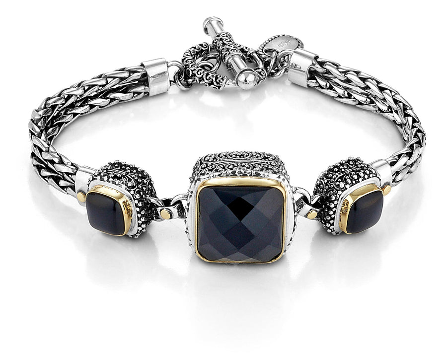 Sterling Silver w/18k Gold Black Onyx Royal Bracelet (6810)