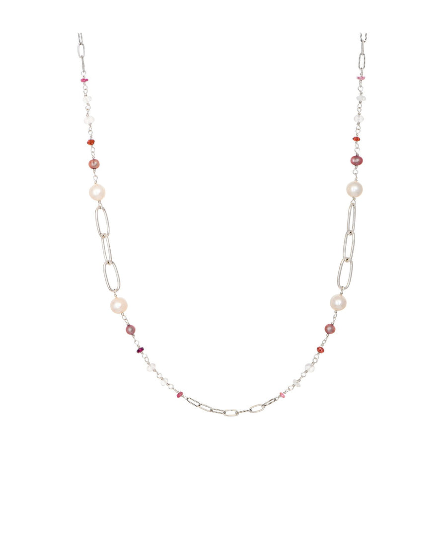 Sterling Silver Mixed Beads and Pearls Necklace (7315RQ-36)