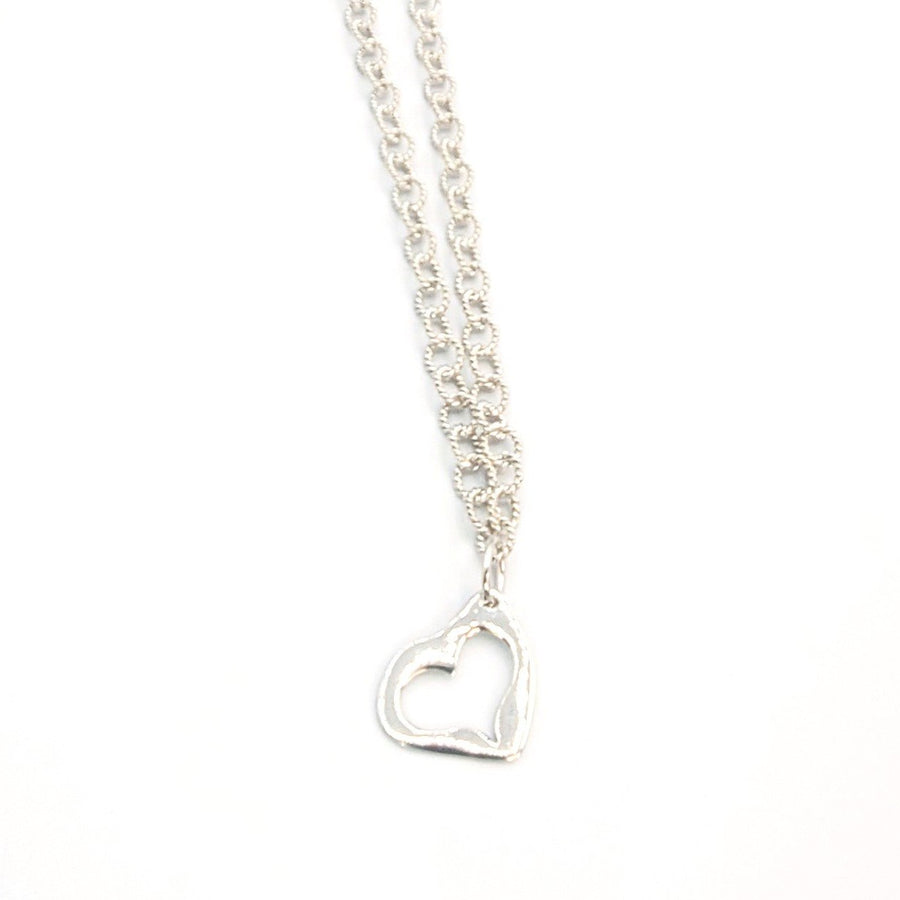 Sterling Silver Open Heart Necklace (7387)