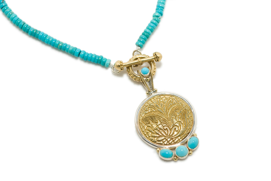 Brass w/Sterling Silver Turquoise Necklace Pendant (7590BZ-TQ/7590CH-16)