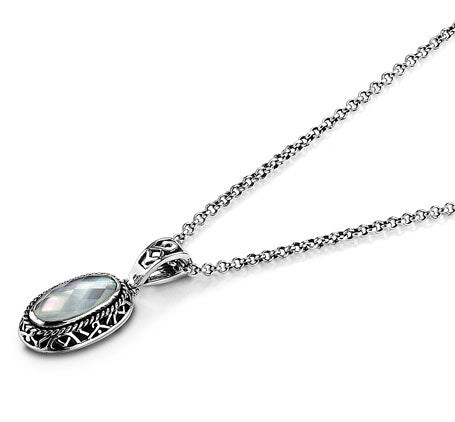 Sterling Silver White Mother of Pearl Quartz Necklace Pendant (7723PN/7083SS)