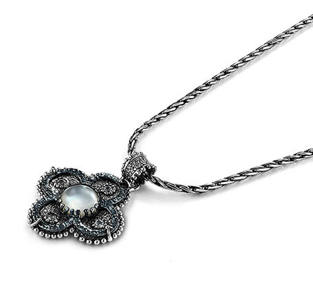 Oxidized Sterling Silver Necklace (7830SS/GMTL)