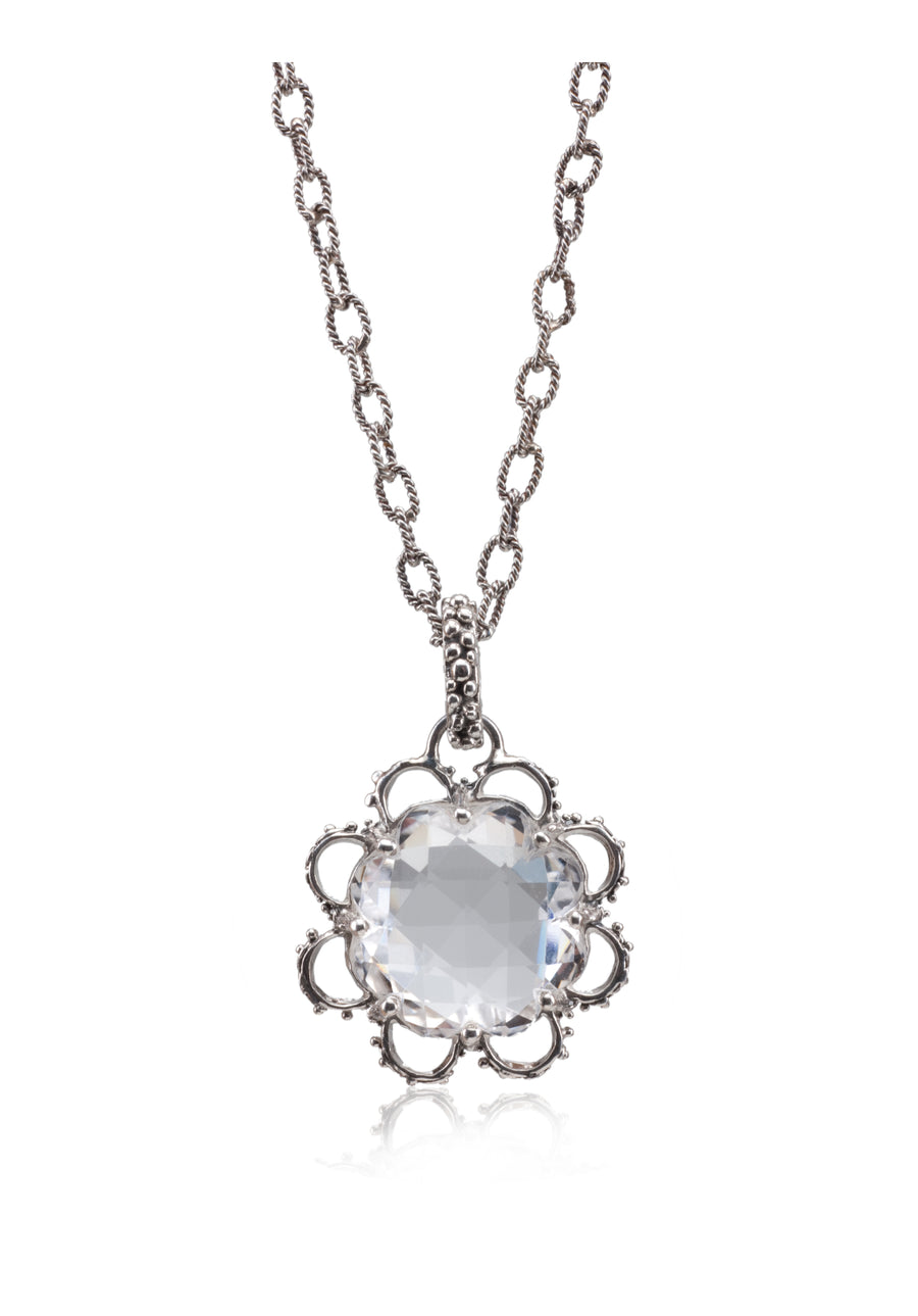 Sterling Silver Clear Quartz Necklace (8010CLQ)