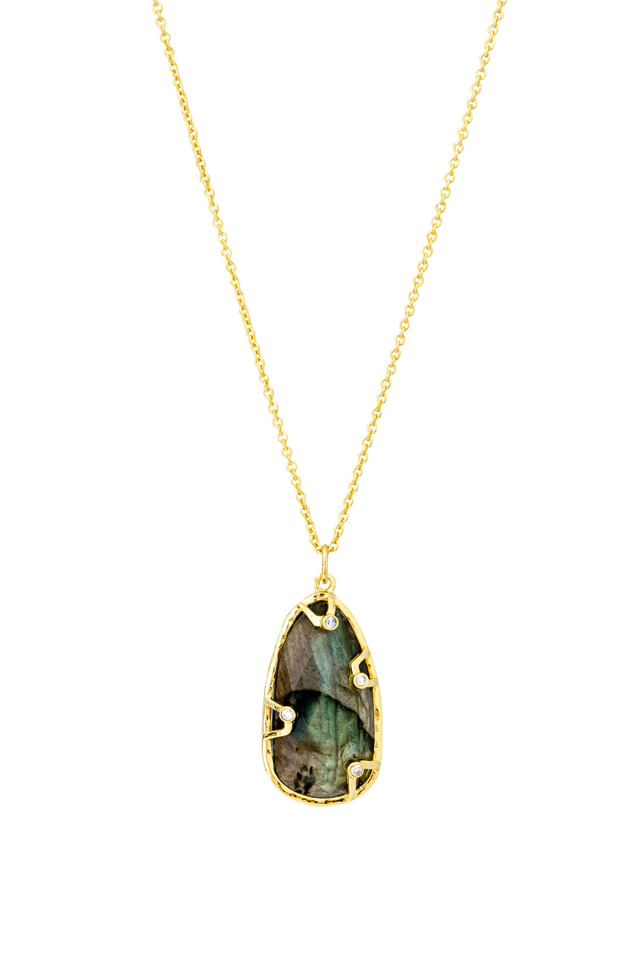 16k Gold Plate Labradorite and CZ Necklace (813200)