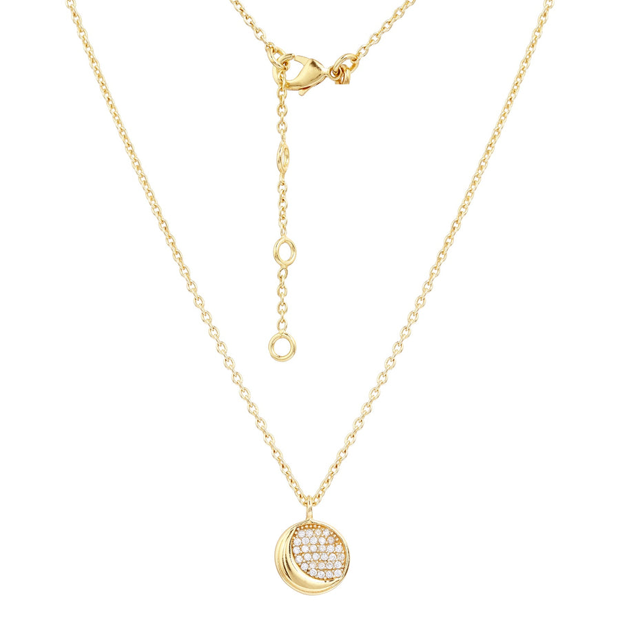 16k Gold Plate Reversible Star and Moon CZ Necklace (813561)