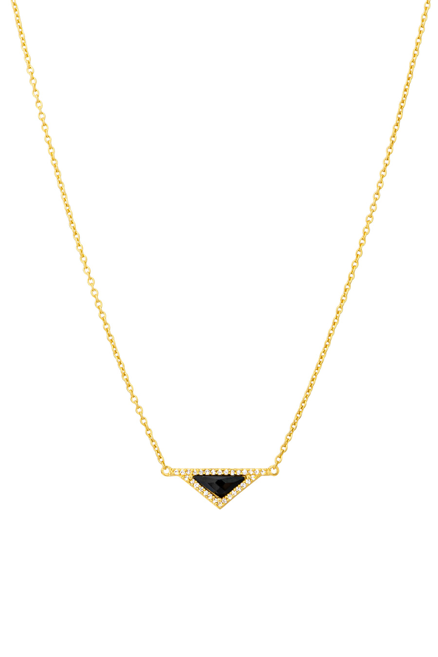 16k Gold Plate Black Onyx and CZ Necklace (813768)