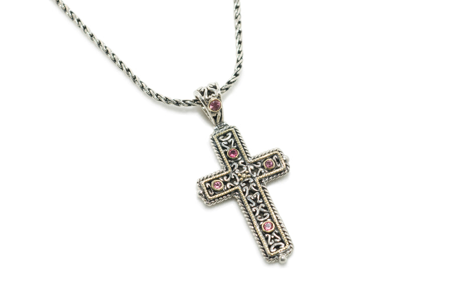 Sterling Silver w/18k Gold Cross Pendant Necklace (832PTOUR)