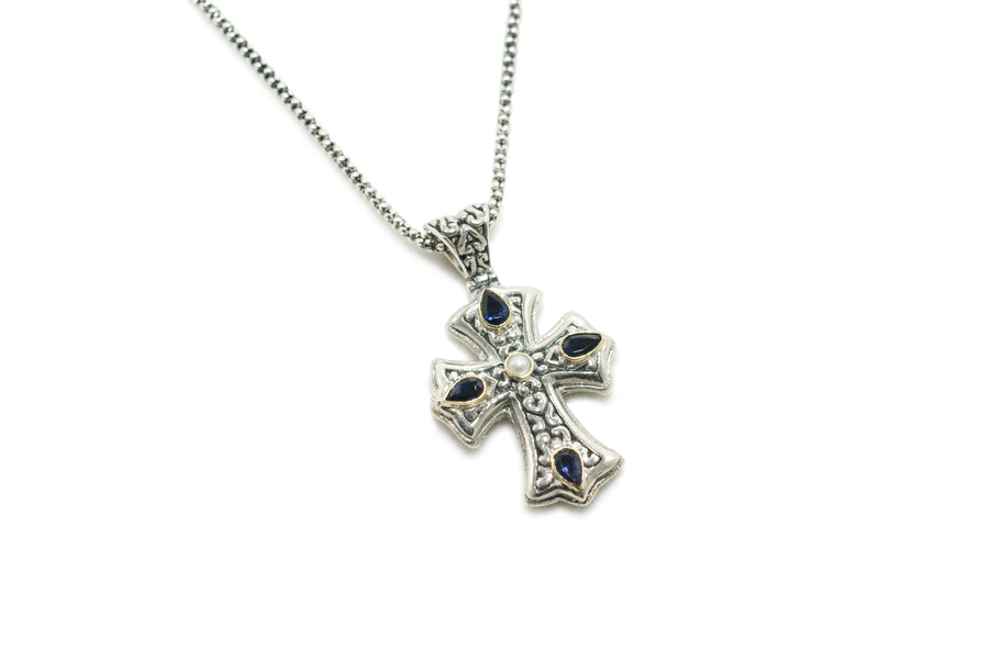 Sterling Silver w/18k Gold Cross Pendant Necklace (833IO/WP)