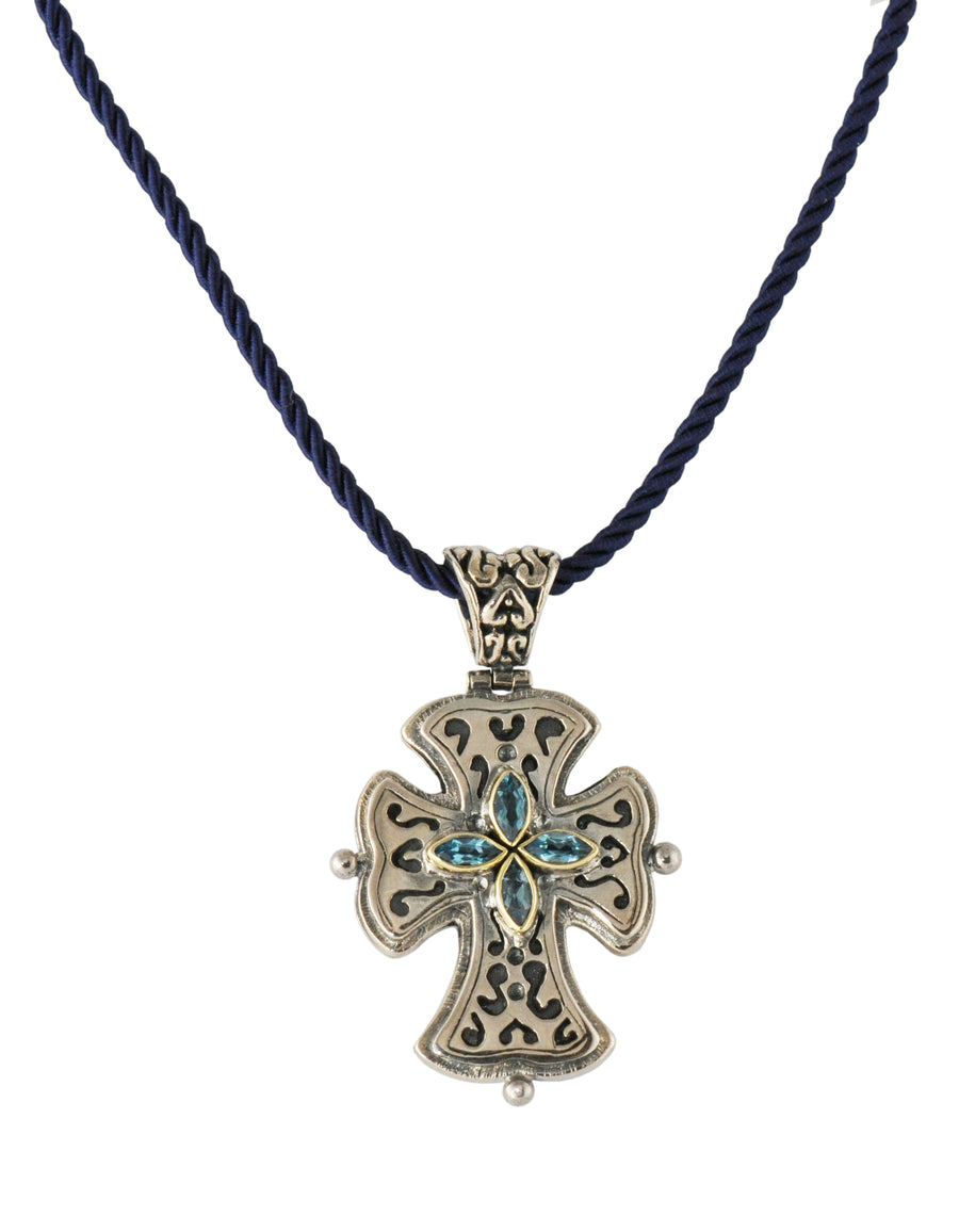 Sterling Silver w/18k Gold Cross Pendant Necklace (837BT)