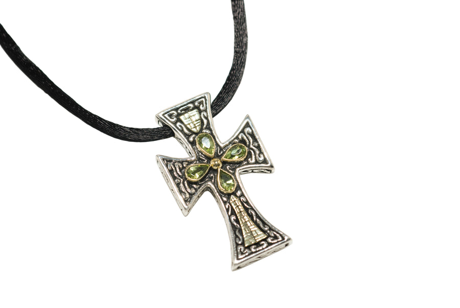 Sterling Silver w/18k Gold Cross Pendant Necklace (838PD)