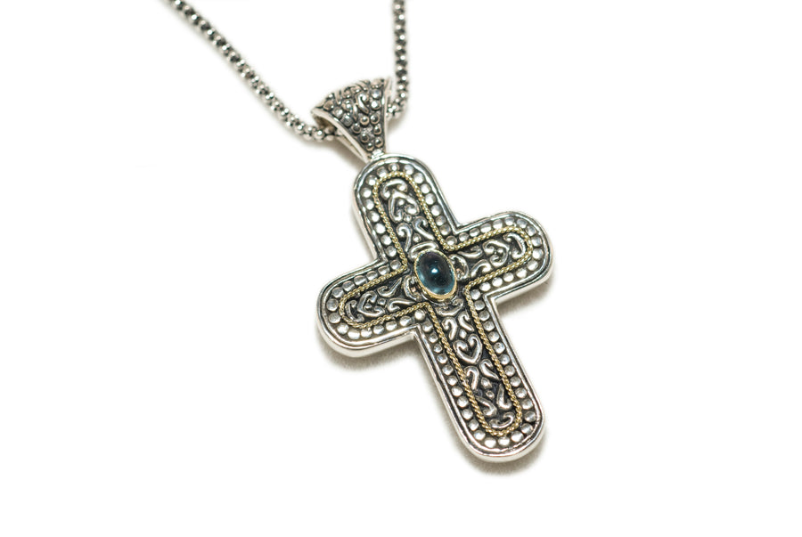 Sterling Silver w/18k Gold Cross Pendant Necklace (839BT/PTOUR)