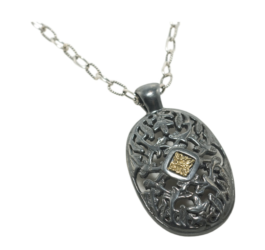 Oxidized Sterling Silver w/5k Gold Necklace Pendant (841GMTL/5k/7032CH)