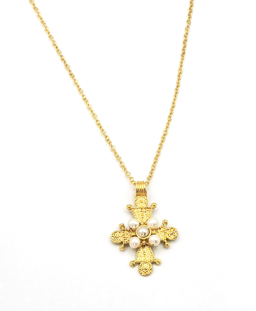 18k Gold Plated Cross with Pearl Necklace (BT026)