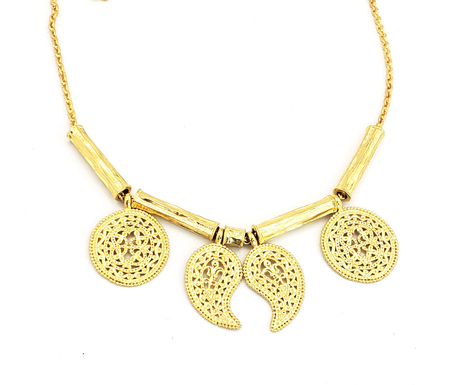 18k Gold Plated Round w/Teardrop Necklace (BT033)