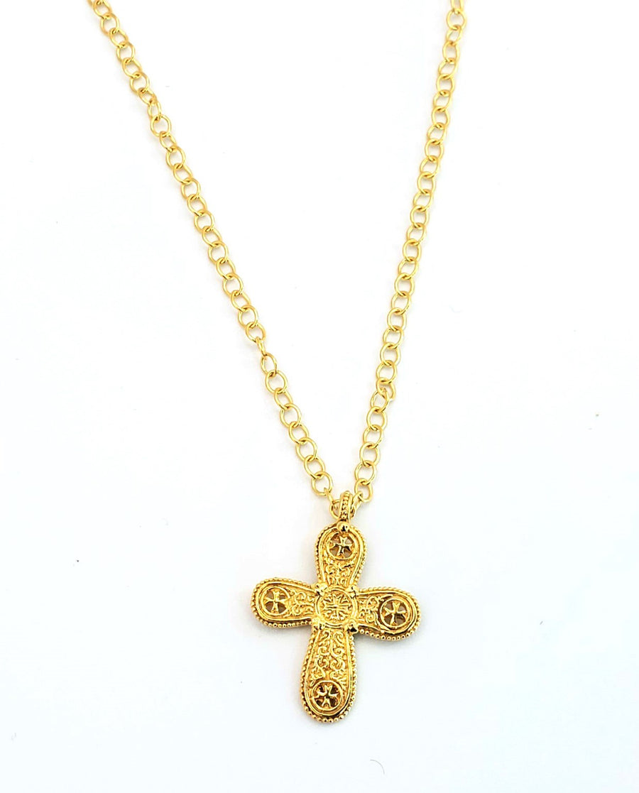18k Gold Plated Cross Necklace (BT036)