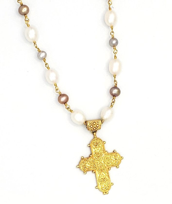 18k Vermeil Intricate Cross with White & Taupe Pearl Necklace (BT058)