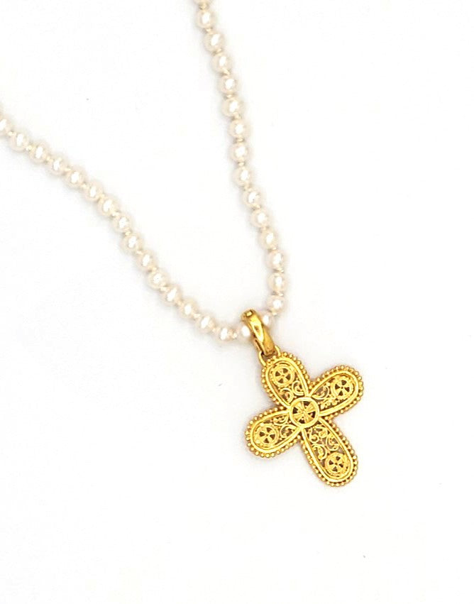 18k Gold Plated Cross Enhancer with Full White Pearl Necklace (BT062)